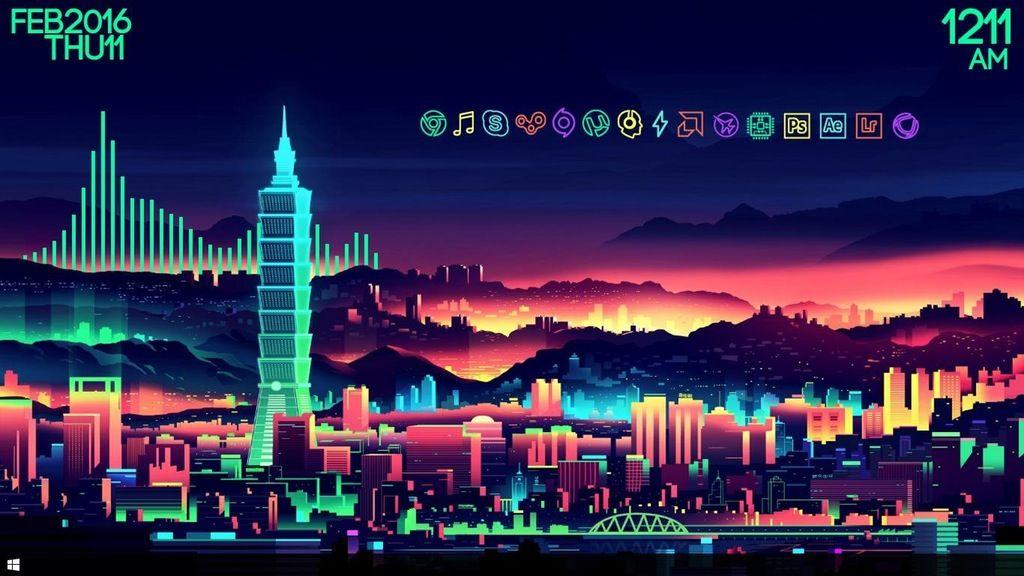 My Desktop Using The Neon City That Is Top Of R Wallpapers Rainmeter Vaporwave Wallpaper Neon Wallpaper City Wallpaper