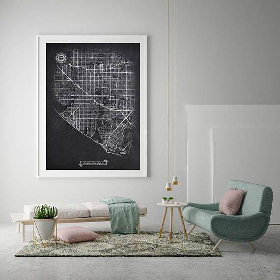 HUNTINGTON BEACH California Chalkboard Map Art Black and White CA