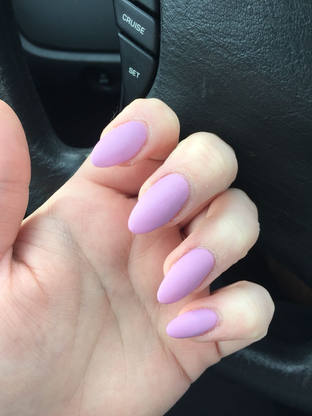 almond shaped nails with lavender
