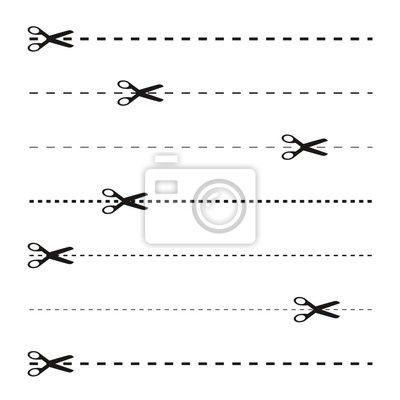 Papier lettre lign pointill papier peint ciseaux pointill s ciseaux - Un ciseau ou des ciseaux ...