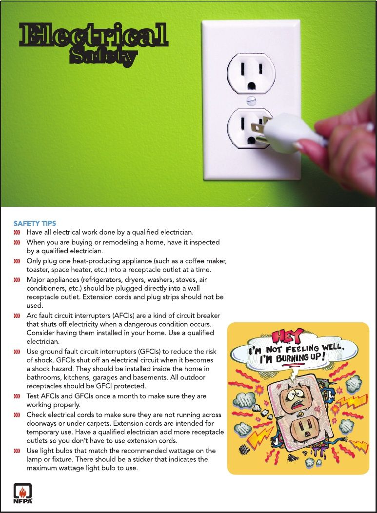 Electrical Safety While cooking/kitchen fires remain the number one ...