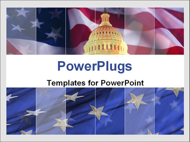 Free PowerPoint Template - The Capitol against American flag