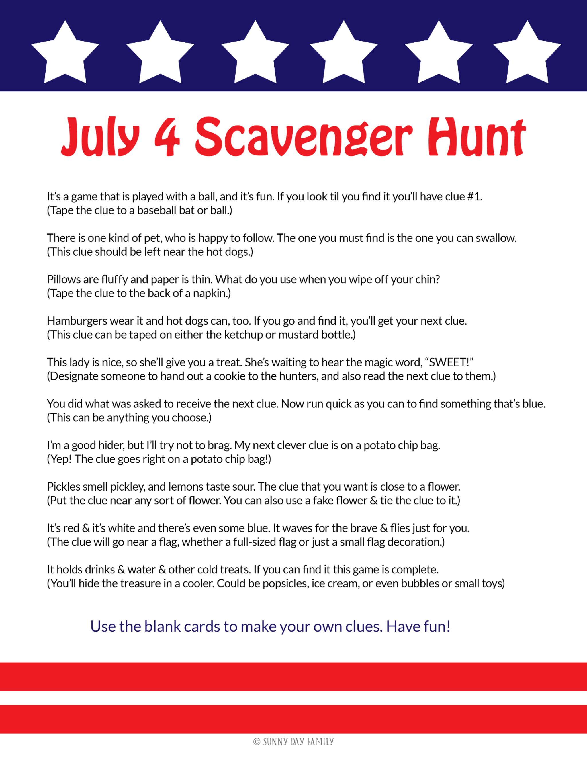 July 4 Scavenger Hunt 4th Of July Games 4th Of July Trivia July 4th