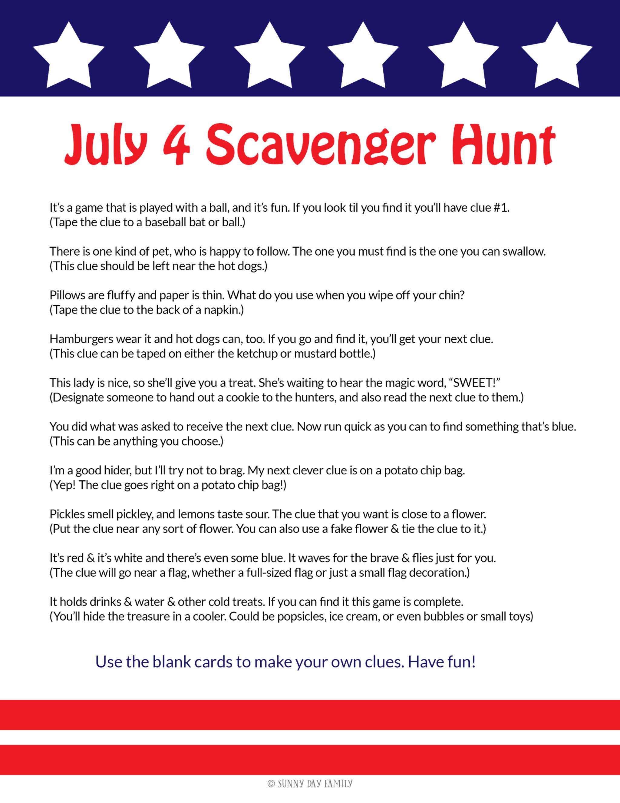 July 4 Scavenger Hunt
