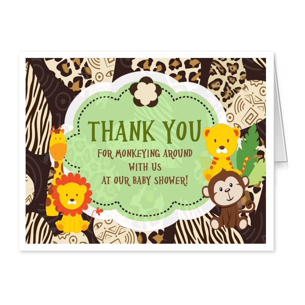 Baby Shower Thank You Cards Birthday Invitations Folded SAFARI Thank ...