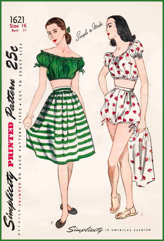 1940s 40s vintage swimsuit sewing pattern off shoulder crop top ...