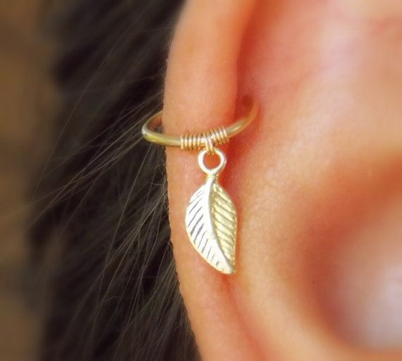 Cartilage Earring Tiny Leaf Gold Hoop Earrings 14k Filled Hoops