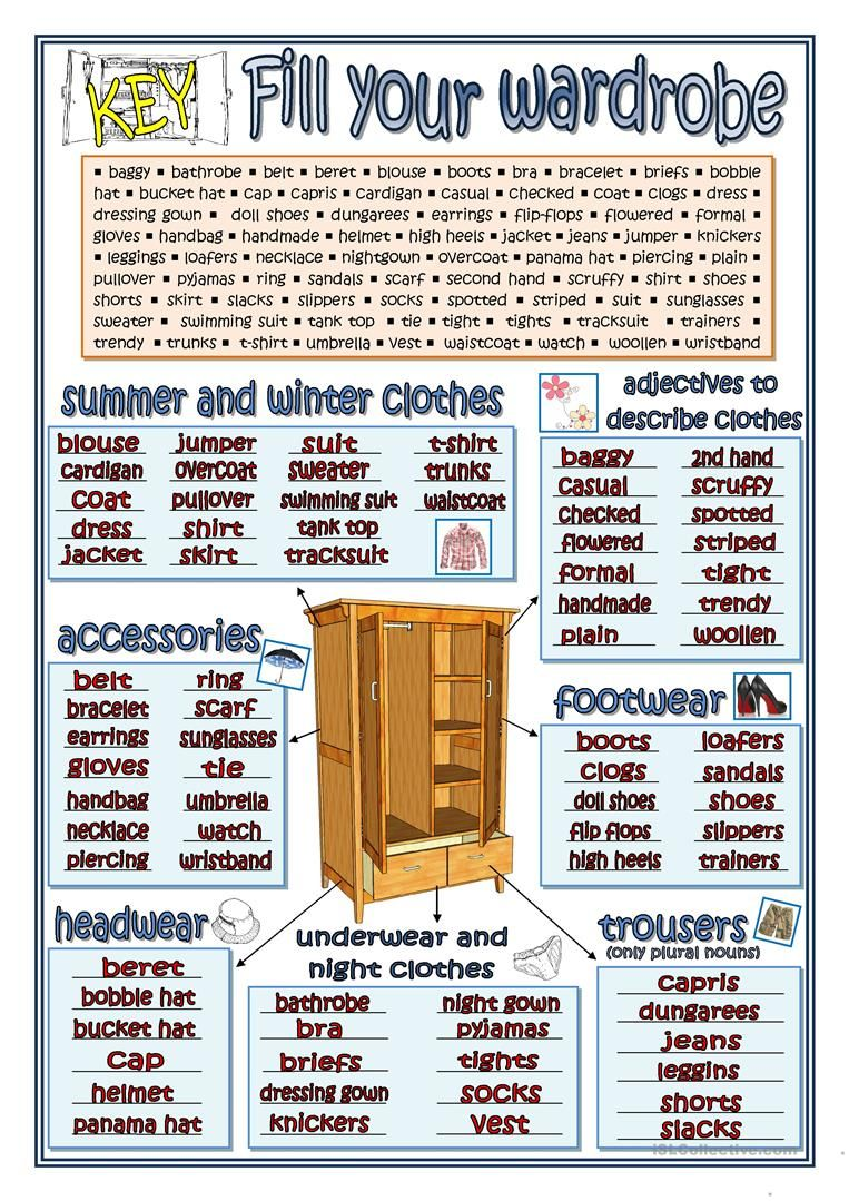 FILL YOUR WARDROBE KEY worksheet Free ESL printable