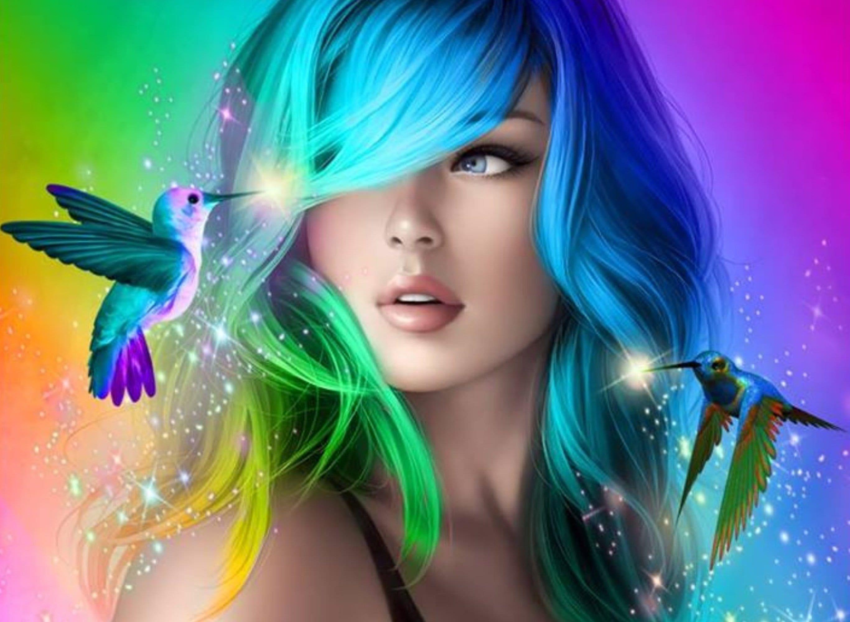 Desktophdwallpaper Org Beautiful Girl Wallpaper Rainbow Hair Beautiful Fantasy Art
