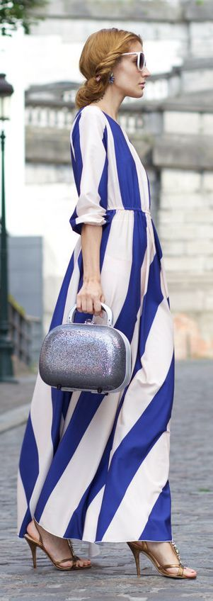 Blue And Cream Striped Maxi Dress by From Brussels With Love