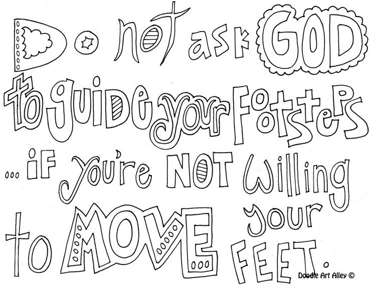 christian doodle word art coloring page cool quotes and funny - Cool Colouring Pages