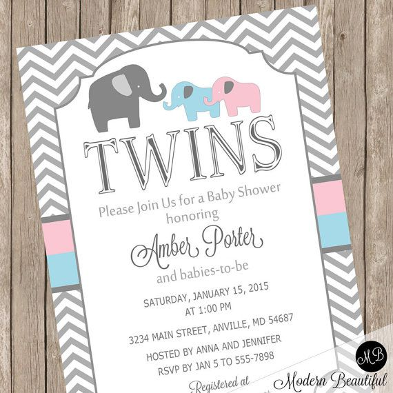 Twins elephant baby shower invitation pink and by modernbeautiful twins elephant baby shower invitation pink and by modernbeautiful filmwisefo Image collections