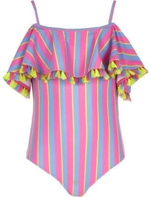 d2590367f5 River Island Girls pink bardot stripe frill swimsuit
