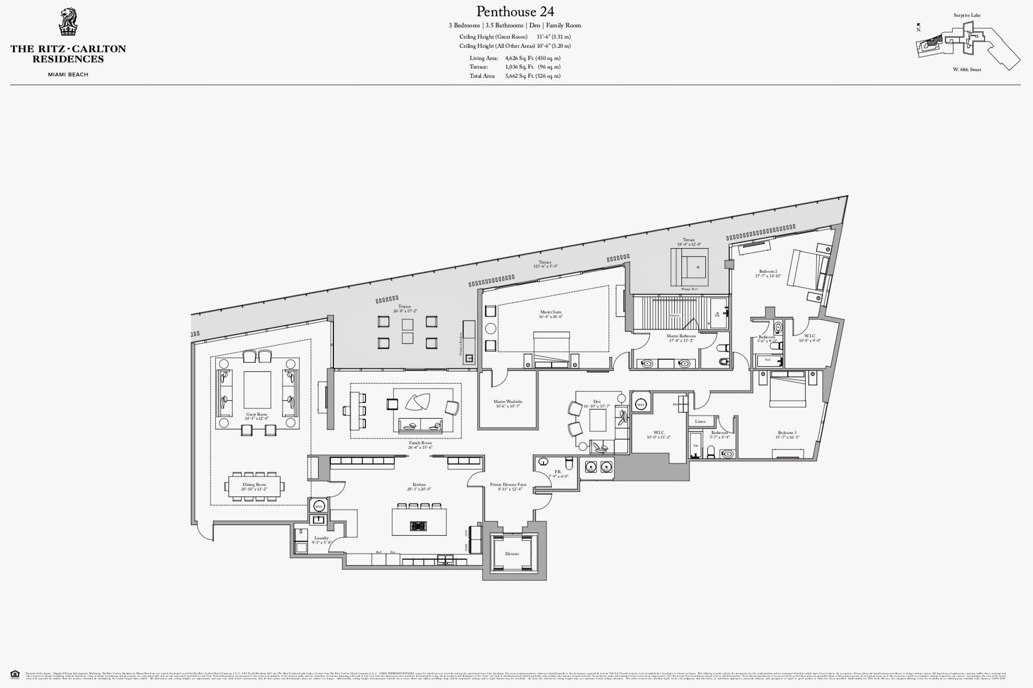 The Ritz Carlton Residences Miami Beach Penthouse 24 Luxury Floor Plans Miami Beach Condo Miami Penthouse