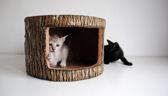Woodlike Cement Sculptures for Cats Say Sculptures creates these gorgeous woodland inspired sculptures using a unique process with ferrocement. Would be cool to have a cushion on top so it could double as extra 'human' seating.