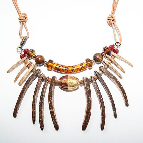 Tribal spike mixed bead necklace wooden beads by boutiqueboheme