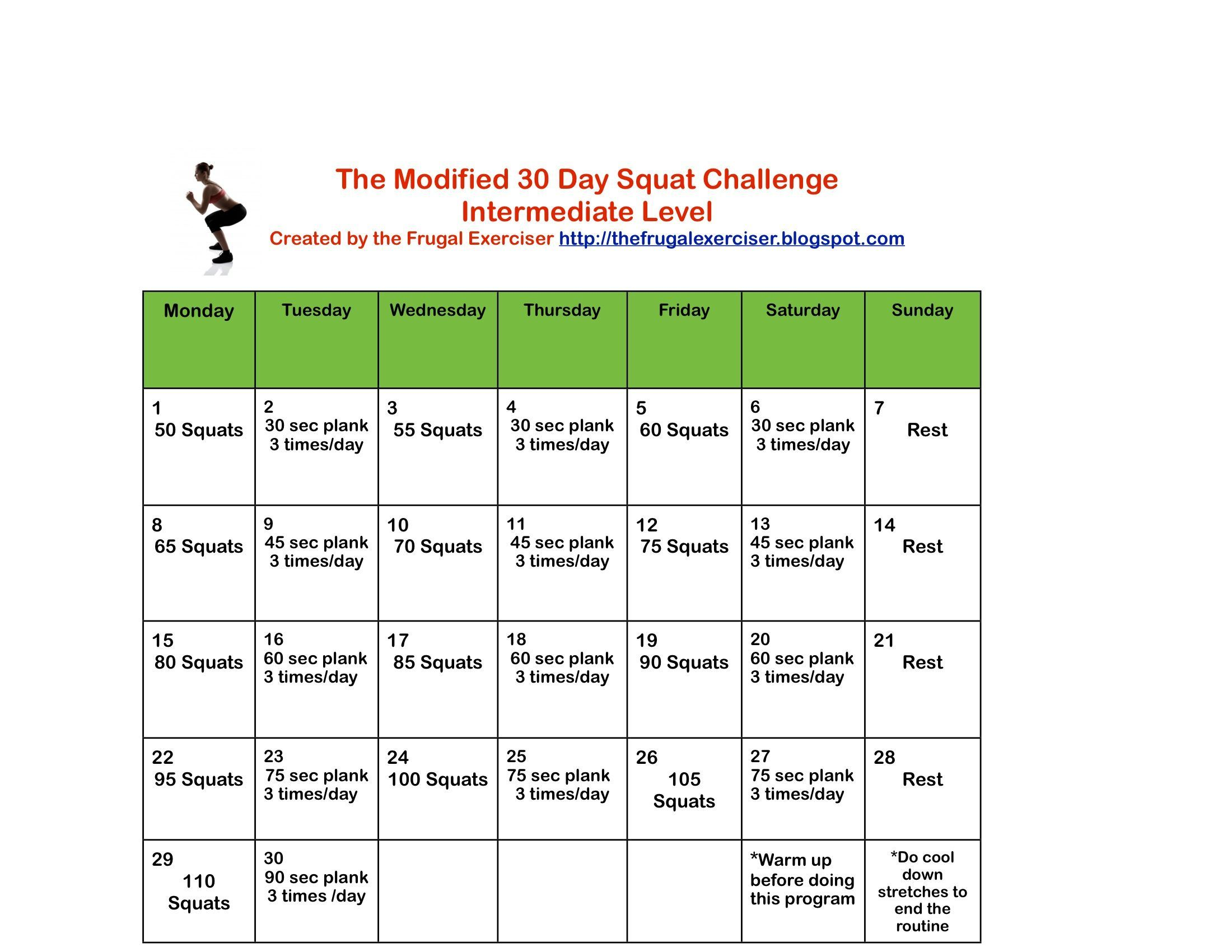 The Modified 30 Day Squat Challengeintermediate Level Try It Do