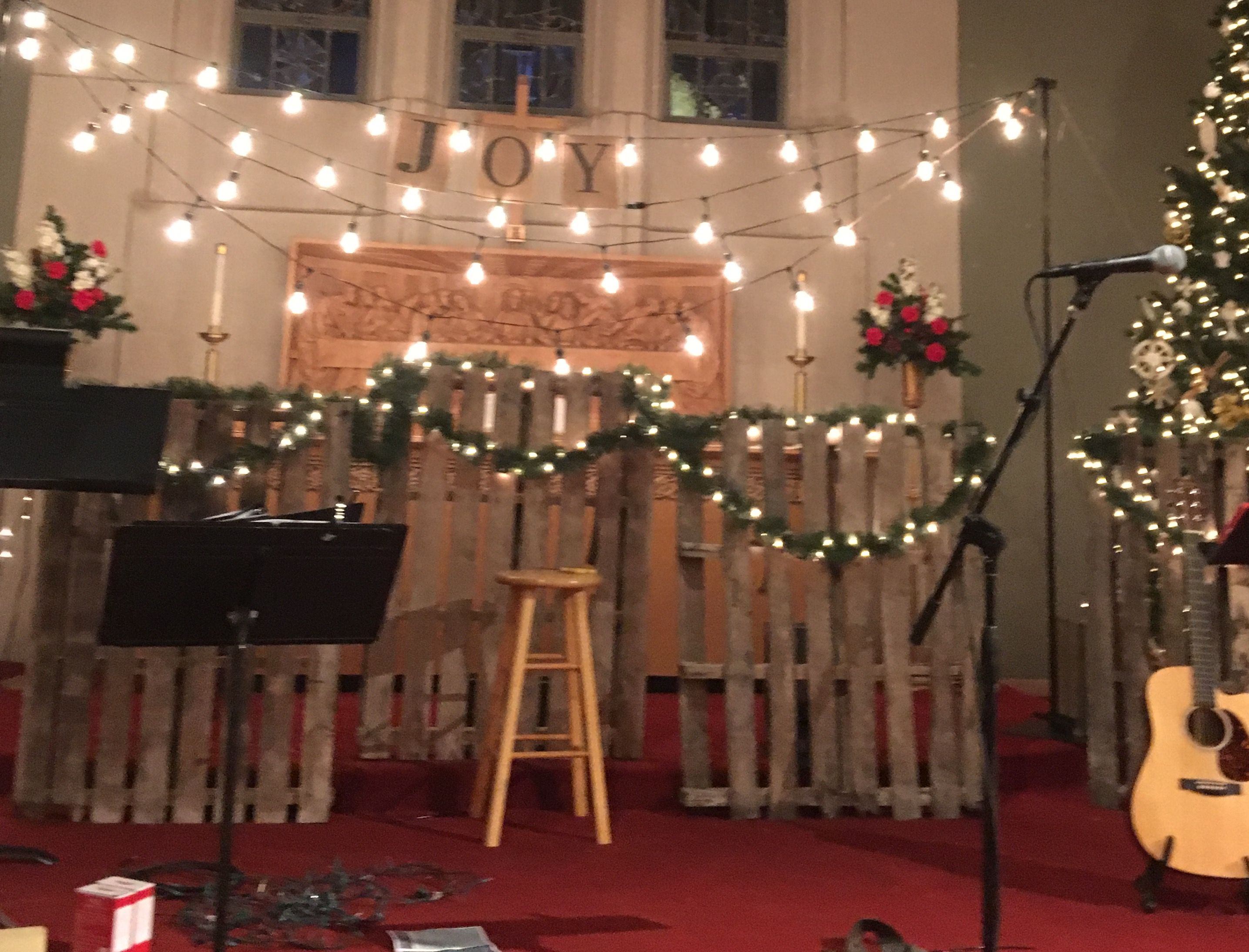 Rustic Christmas Stage Design With