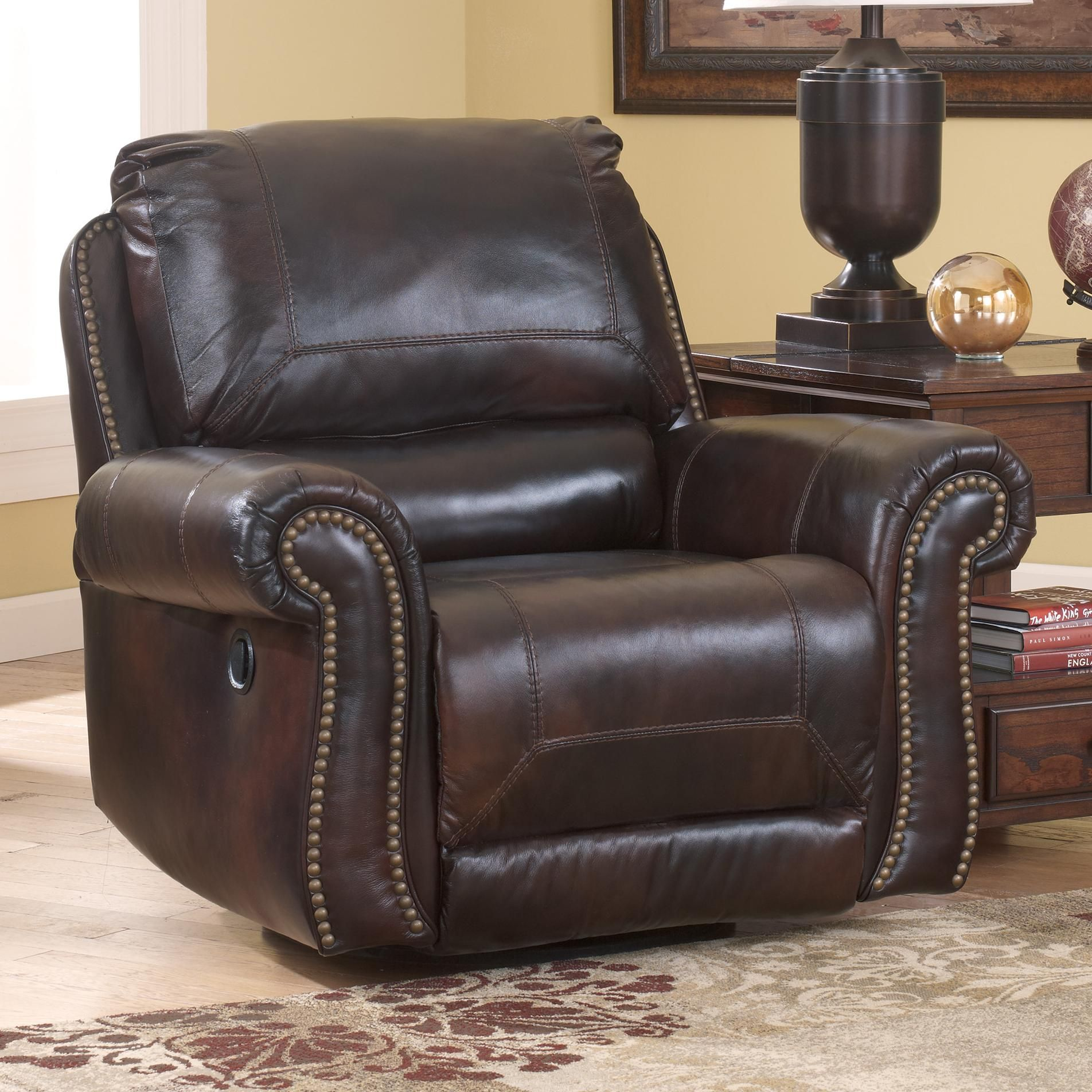 Ashley Furniture Leather Chair Dexpen Saddle Swivel Glider Recliner By Signature Design