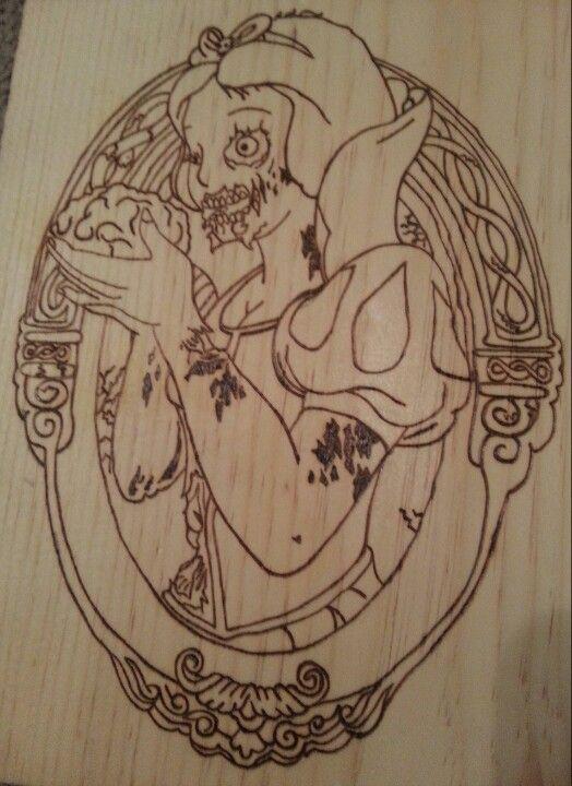Zombie Snow White pyrography