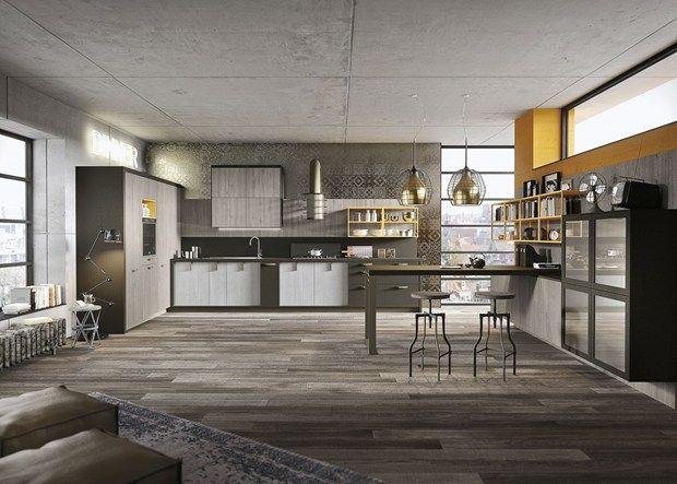 Legno vissuto, metallo e vetro per la cucina Loft Il nuovo progetto ...