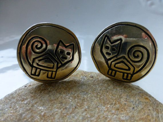 SOLD! Whimsical Cat Earrings  Goldtone  Soft Touch by ChicAvantGarde,