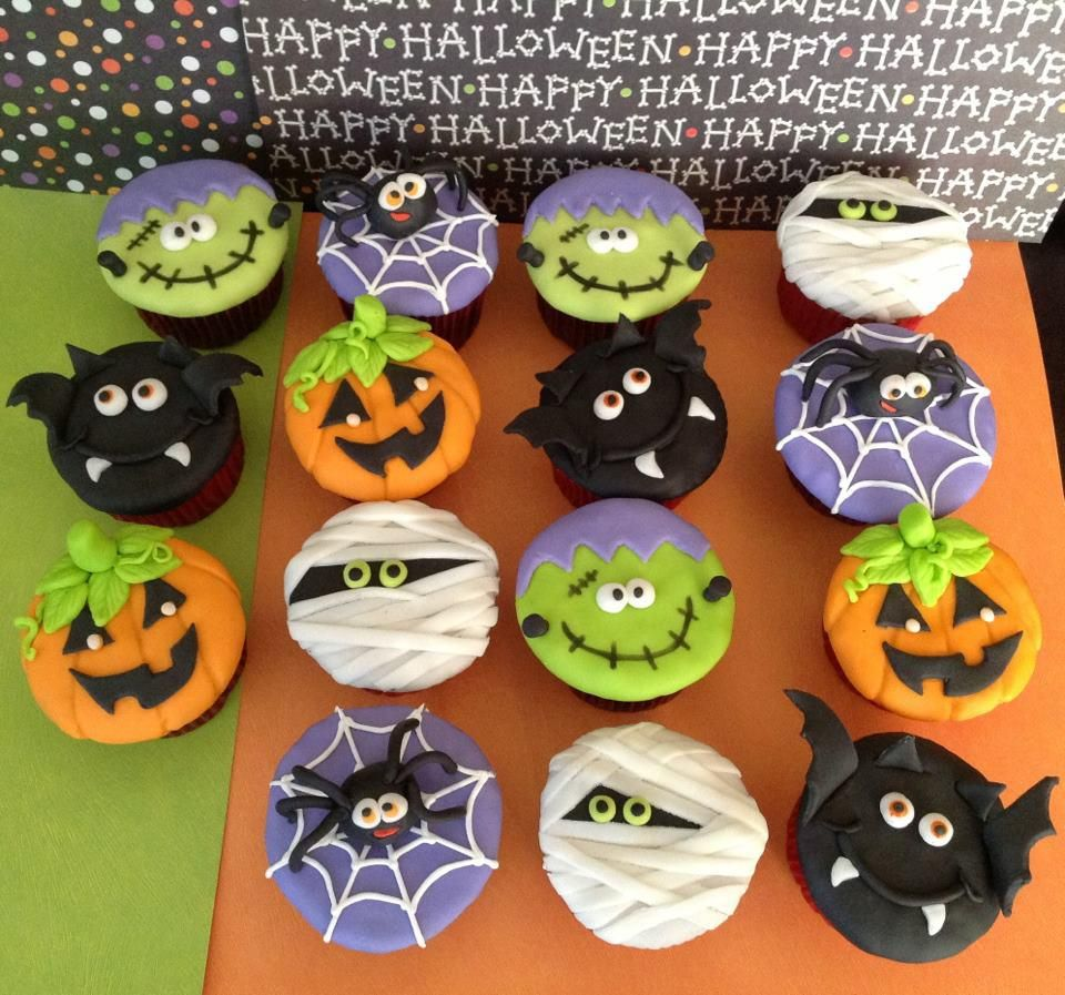 Cupcakes con fondant aleboneta@hotmail Kathy please bring - Halloween Cake Decorating Ideas