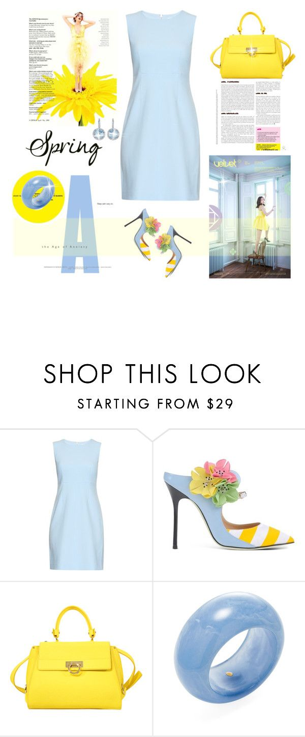 """Spring Day to Evening"" by terry-tlc ❤ liked on Polyvore featuring Diane Von Furstenberg, Giannico, Salvatore Ferragamo, Kenneth Jay Lane, Diana M. Jewels and daytoevenimg"