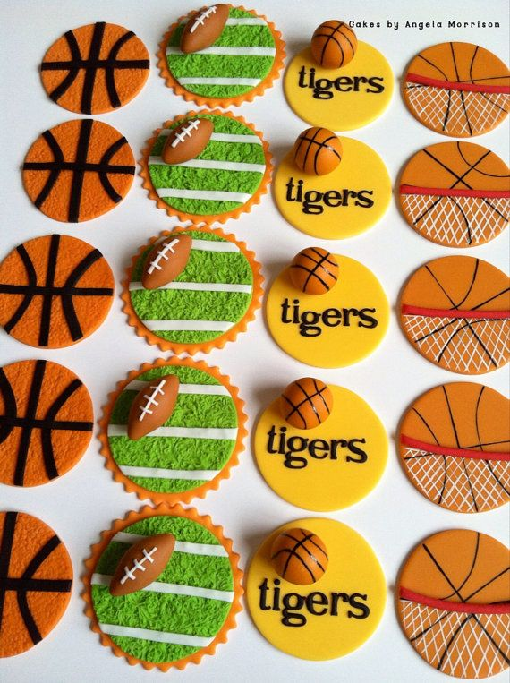 Sports cupcake toppers by CakesbyAngela on Etsy, $56.00