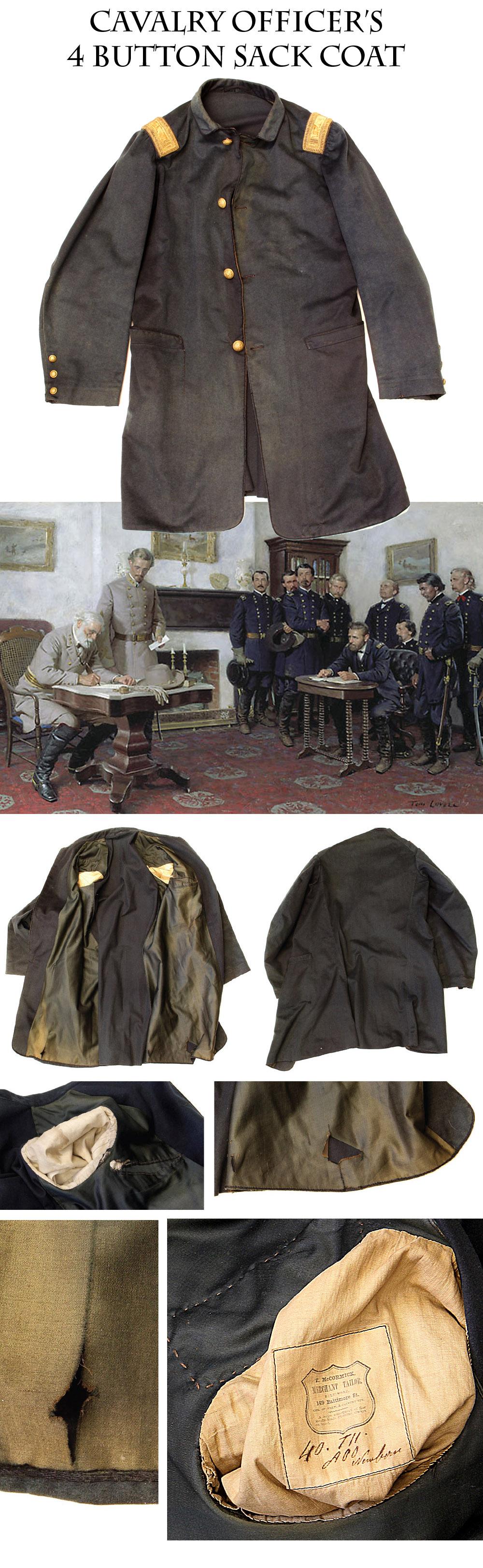 Civil War Union Cavalry Captain's 4-button Sack Coat with a Baltimore Maker's Label