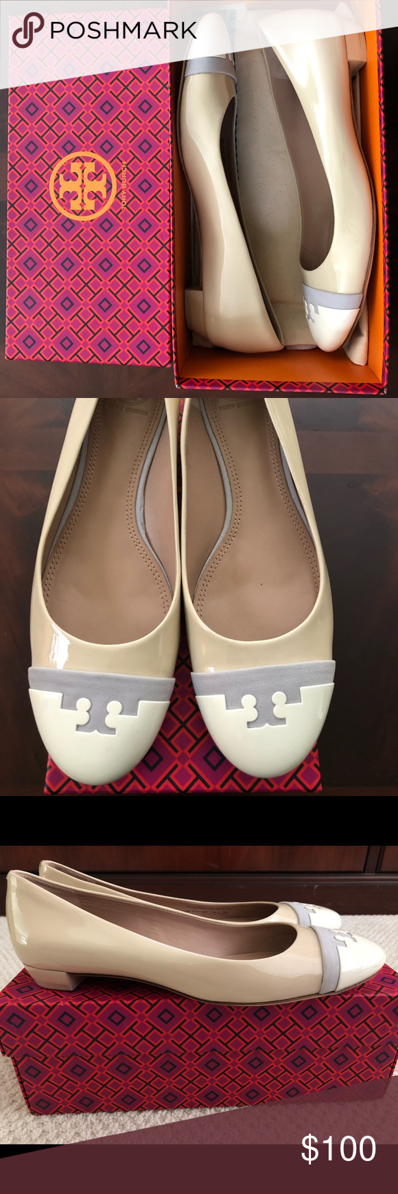 d83a3cda48bd Tory Burch Gabrielle Flat Dulce De Leche   Dusk Patent leather flats  featuring iconic Tory Burch emblem. Only worn twice and in great condition.