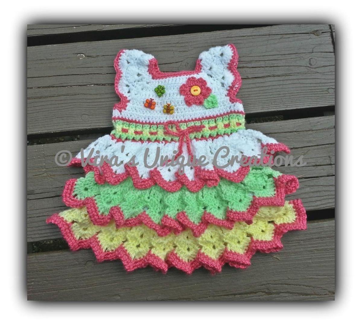 Crochet a Free Pretty Baby Girl Dress Pattern   Crochet ruffle ...