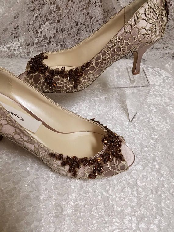Bridal Shoes Taupe Beaded Lace 2 1 4 Heelivory Or Taupe Etsy Bridal Shoes Lace Pumps Ivory Shoes