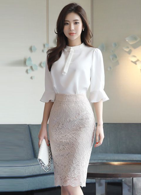 Full Lace Knee-length Pencil Skirt in 2019  e605faed39b1