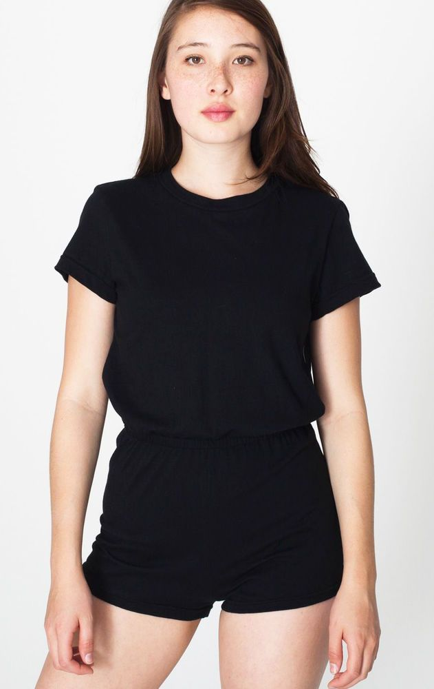75c0787520 AMERICAN APPAREL Jersey T-Shirt ROMPER Shorts black jumpsuit onesie playsuit  S