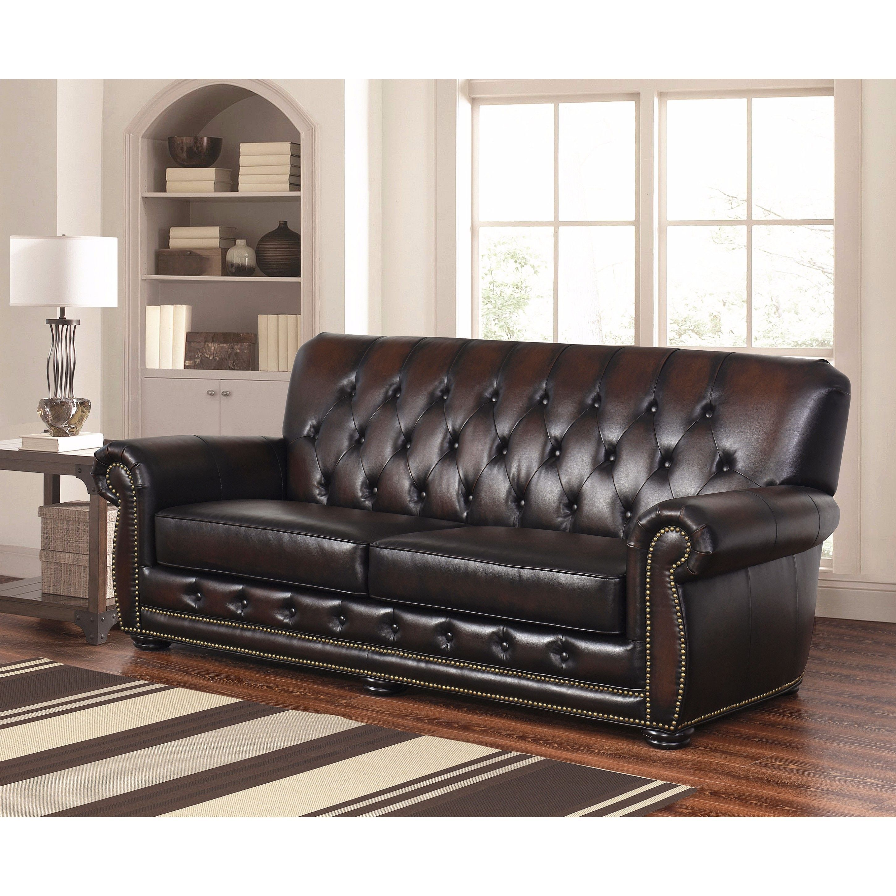 Peachy Abbyson Sonoma Tufted Leather Sofa Sonoma Brown Bonded Ncnpc Chair Design For Home Ncnpcorg