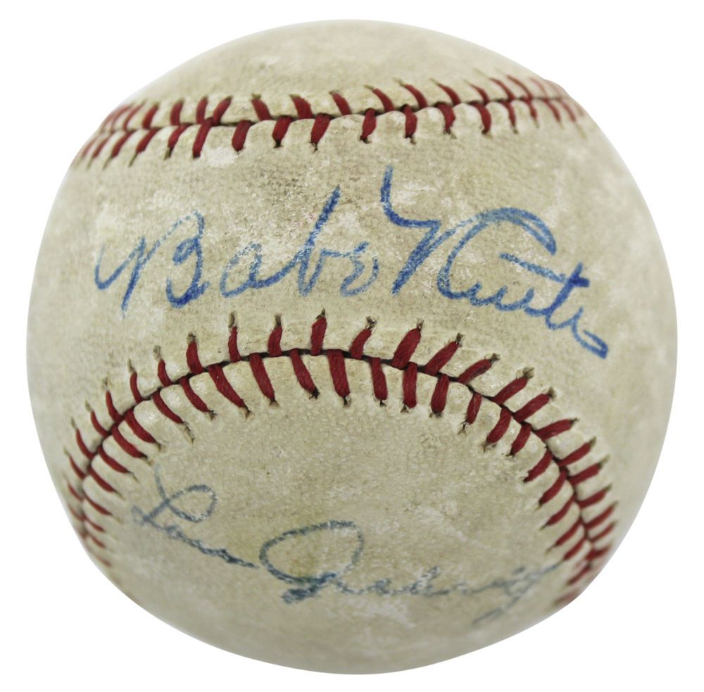 Yankees Babe Ruth Lou Gehrig Authentic Signed Baseball Psa Dna Ae02944 Baberuth Coll Babe Ruth Autograph Babe Ruth Baseball Babe Ruth Autographed Baseball