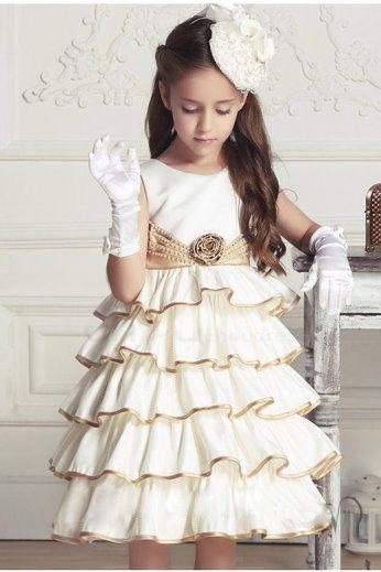 2015 new girls dress girls 3-7 years old fashion clothes European style  princess dress beige cake layer dress ac9edaa6e