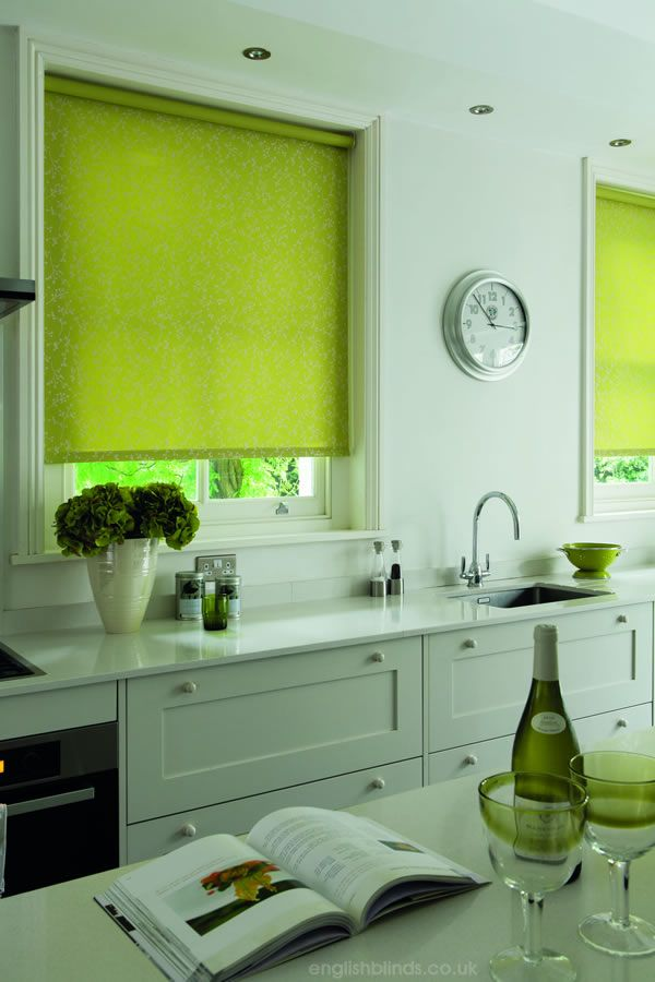 Epic Lime green and silver floral patterned kitchen roller blinds