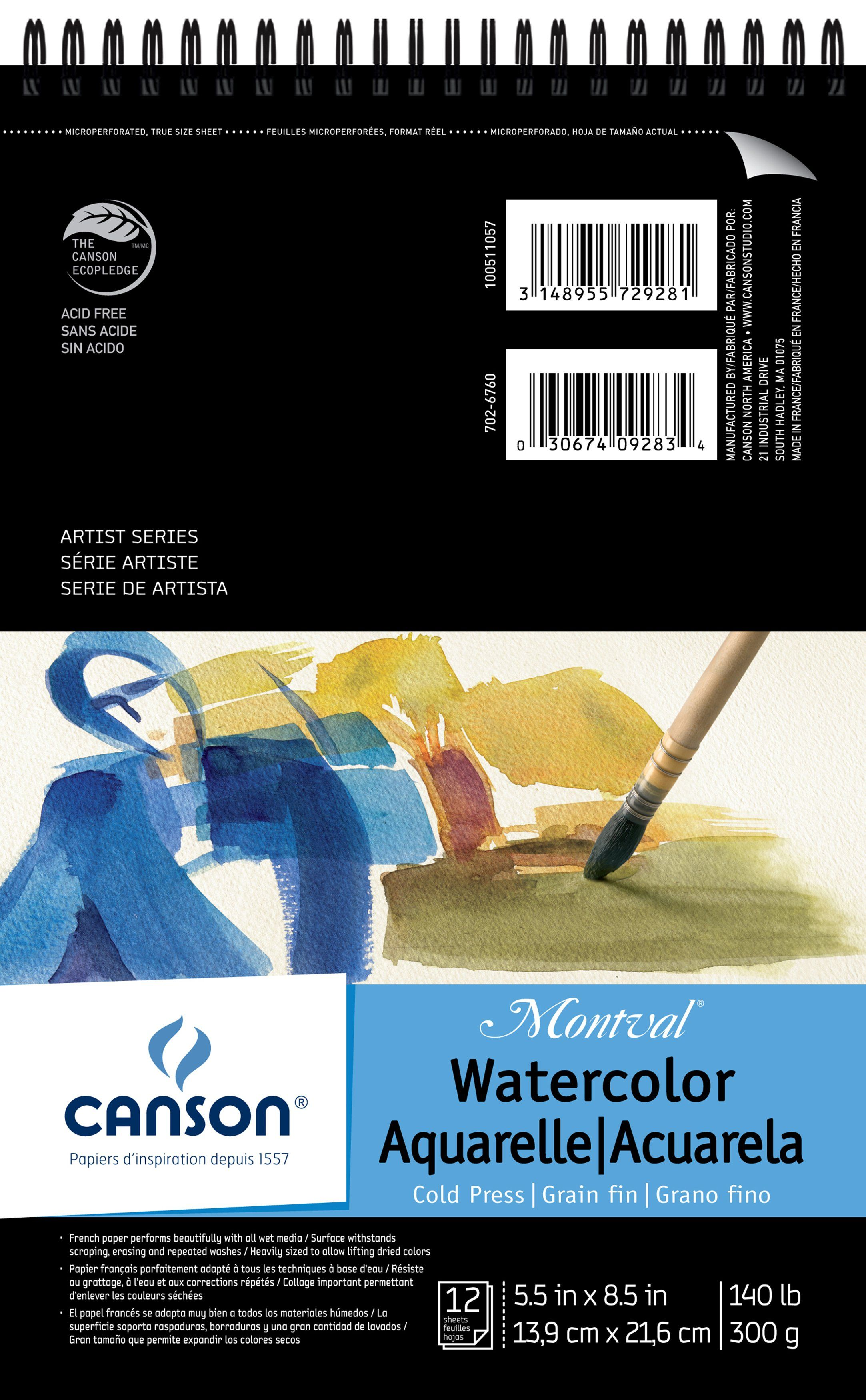 Canson Montval Spiral Watercolor Pad 5 5inx8 5in 12 Sheets