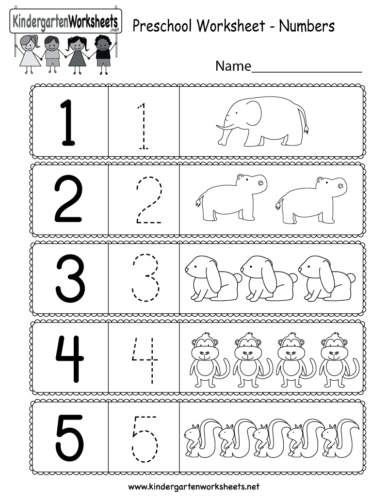 This is a preschool numbers worksheet. Kids can