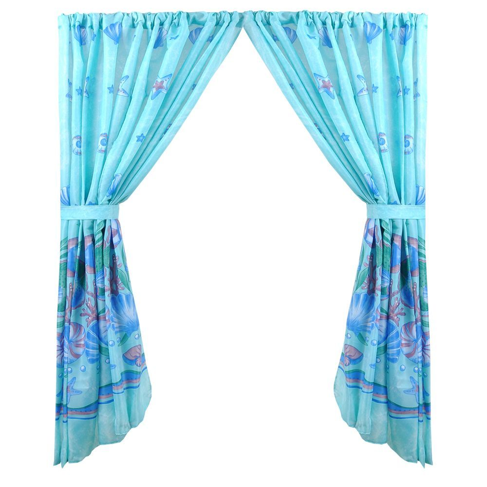 Scenic Ocean Print Blue Fabric Inch X Inch Waterresistant - Water resistant bathroom window curtains for bathroom decor ideas