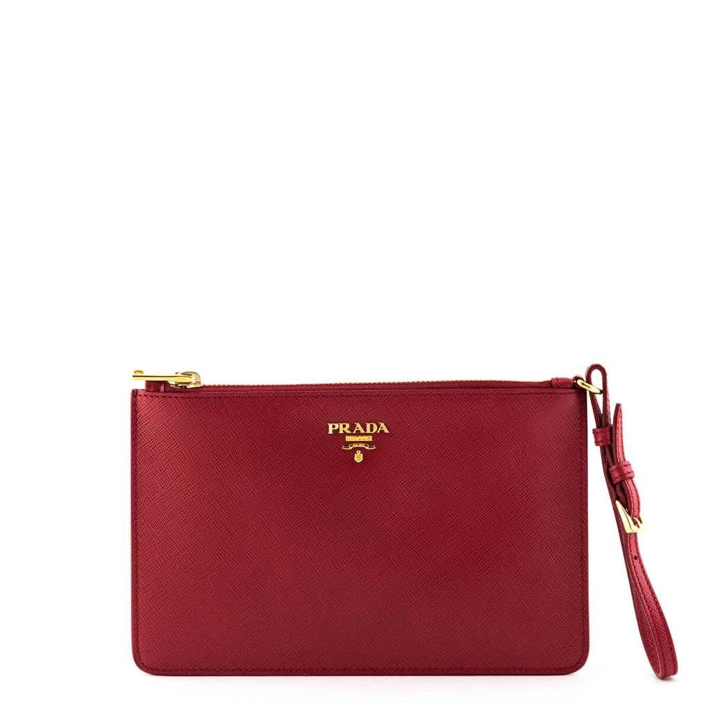 ec555893a367 Prada Red Saffiano Flat Zip Wristlet Clutch in 2019 | All Bags ...