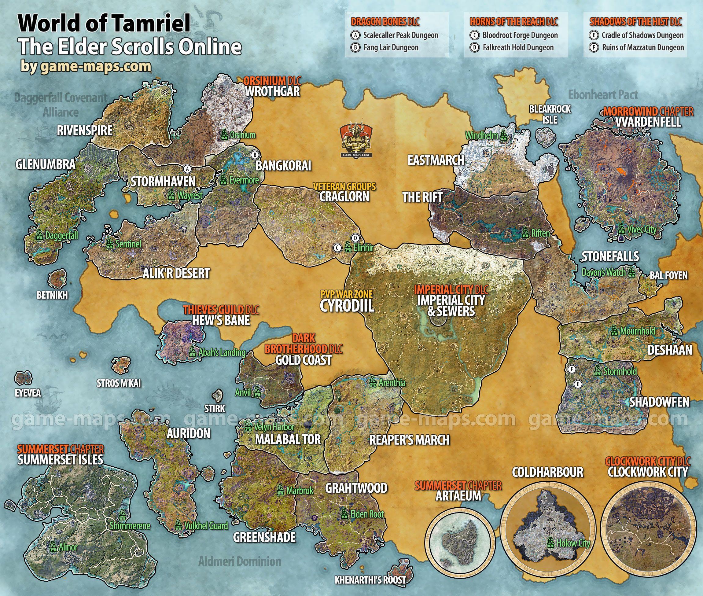 Elder Scrolls Online World Map Maps for The Elder Scrolls Online (ESO), Vvardenfell, Morrowind