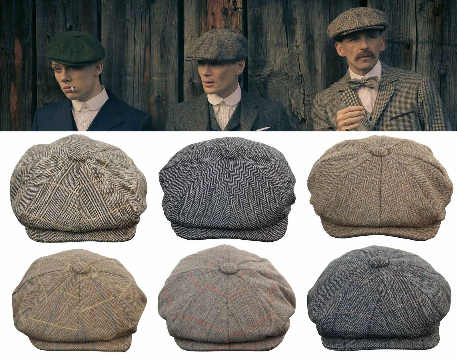4084670c Mens Tweed Newsboy Cap Peaky Blinders Baker Boy Flat Check Grandad Hat |  eBay