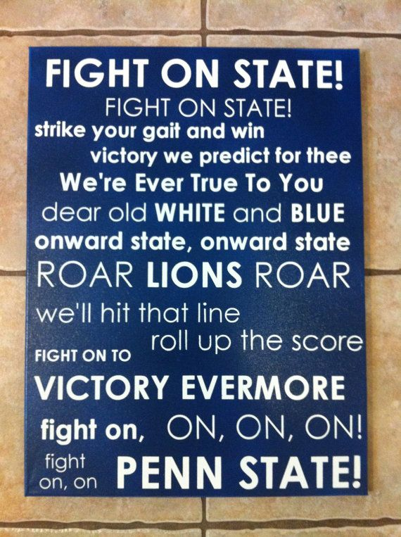 the latest 5c159 bbd89 Penn State Fight Song Subway Art by jjfoley07 on Etsy