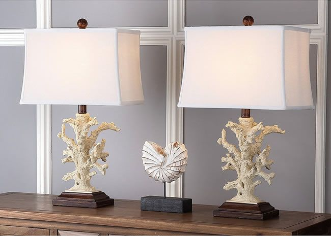 Set Of Two Coral Table Lamps By Safavieh Lighting   LIT4004A SET2   Coastal  Style