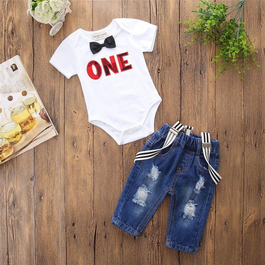 2738d3488a98 New Summer Baby Boys Set Kids Short Sleeve romper T-shirt + Suspender Jeans  Short