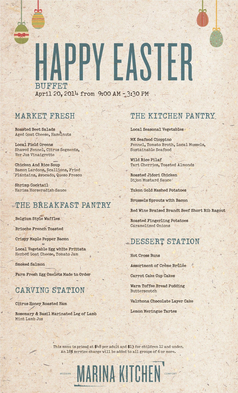 Market fresh easter buffet menu at marina kitchen for Easter brunch restaurant menus