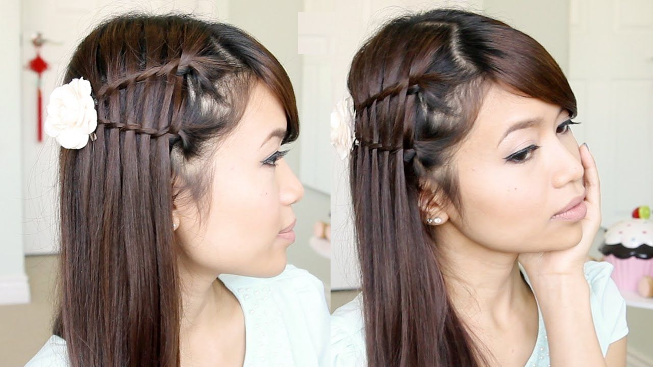 Double Waterfall Twist Hairstyle For Medium Long Hair Tutorial Bebexo Hair Tutorial Thick Hair Styles Medium Hair Styles